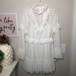 Missguided White High Neck Dobby Mesh Ruffle Dress
